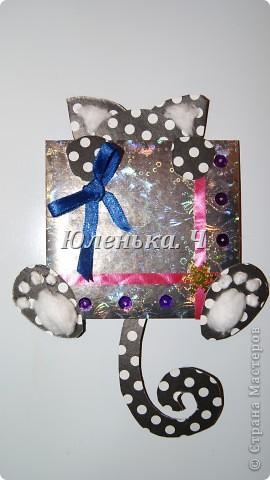 Котик Картон, вата, украшение, клей. фото 2