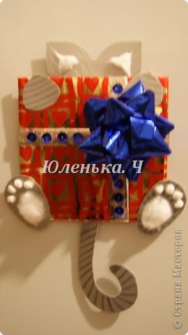 Котик Картон, вата, украшение, клей. фото 3