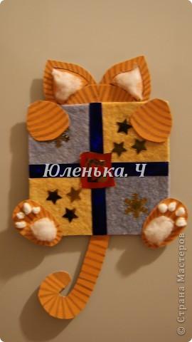 Котик Картон, вата, украшение, клей. фото 4