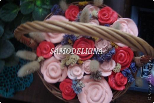 корзинки с цветами из теста и сухоцветами фото 2