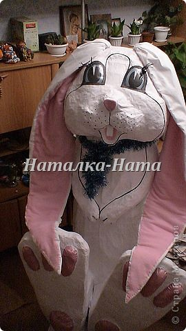 Игрушка-гигант для дочки в школу символ этого года- белый кролик.  фото 1