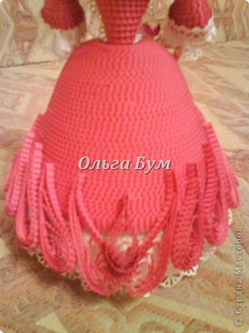 Дама в розовом платье с розой в руках. Из гофрокартона. Придумала её полностью сама. Придумала и сделала! фото 4