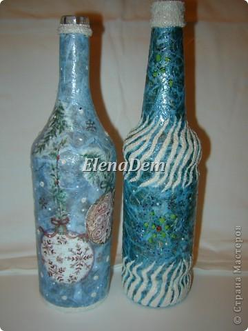 Бутылки в технике имитация рисовой бумаги и манка. фото 1