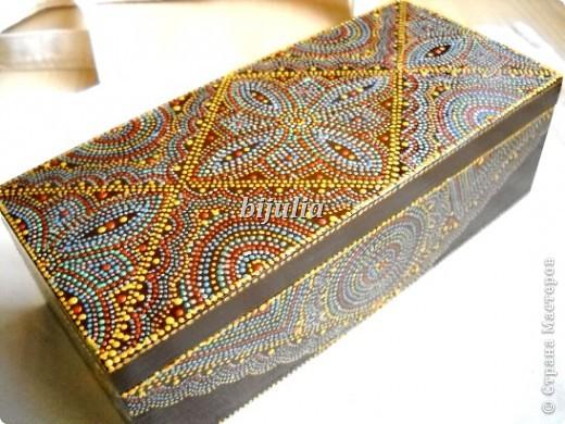 Шкатулка деревянная с точечной росписью фото 1