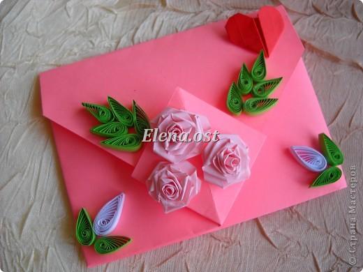 Конверт-оригами для маленькой  открытки. Украшаем цветами в технике квиллинг. При копировании статьи, целиком или частично, пожалуйста, указывайте активную ссылку на источник! http://stranamasterov.ru/user/9321 http://stranamasterov.ru/node/142138 фото 1