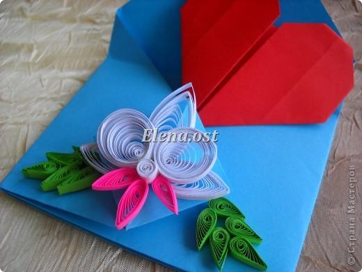 Конверт-оригами для маленькой  открытки. Украшаем цветами в технике квиллинг. При копировании статьи, целиком или частично, пожалуйста, указывайте активную ссылку на источник! http://stranamasterov.ru/user/9321 http://stranamasterov.ru/node/142138 фото 2