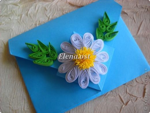 Конверт-оригами для маленькой  открытки. Украшаем цветами в технике квиллинг. При копировании статьи, целиком или частично, пожалуйста, указывайте активную ссылку на источник! http://stranamasterov.ru/user/9321 http://stranamasterov.ru/node/142138 фото 3
