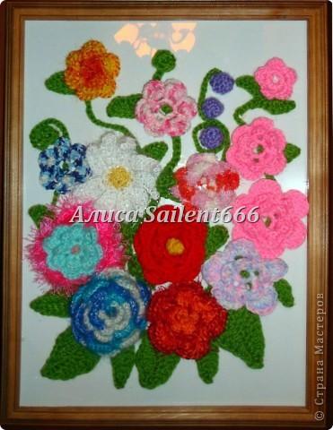 Цветочное панно (вязанные) фото 1