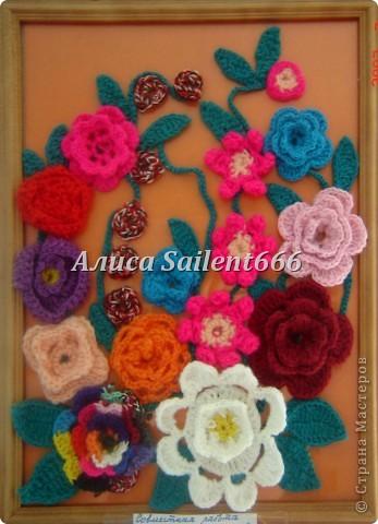 Цветочное панно (вязанные) фото 2