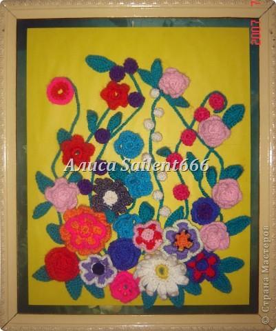 Цветочное панно (вязанные) фото 3