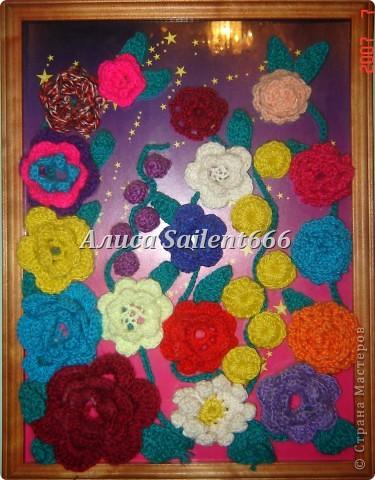 Цветочное панно (вязанные) фото 4