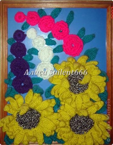 Цветочное панно (вязанные) фото 5
