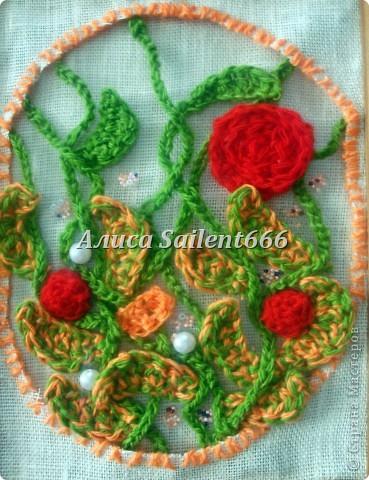 Цветочное панно (вязанные) фото 6