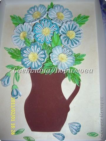 """Вот такие цветочки родились у меня недавно. Вдохновил на работу МК N@tali. Спасибо Вам за полезный МК! Решила """"посадить"""" цветы в кувшинчик. Жаль, что не нашла фоторепортаж оригинала с выставки.  фото 1"""