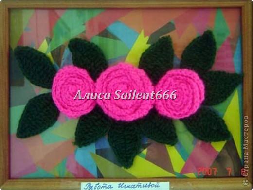 Цветочное панно (вязанные) фото 7