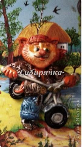 Доброго времени суток! Хочу рассказать Вам о том, как слепился у меня вот такой мотоциклист. Извиняюсь за качество фотографий, поскольку все они были сделаны на телефон. фото 1