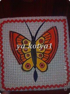 бабочка с расписными крыльями(сделана из глины,расписана гуашью) фото 1