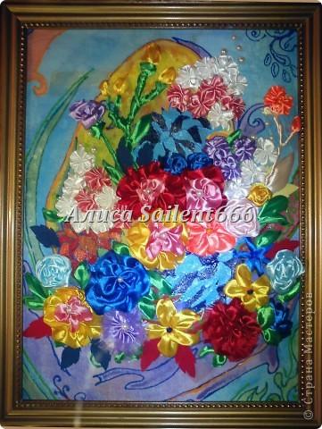 Цветы лентами