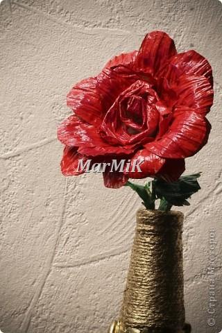 Цветок из бумажной бечевки фото 1