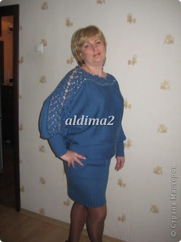 Платье связано на вязальной машине, отделка - крючок.  фото 1
