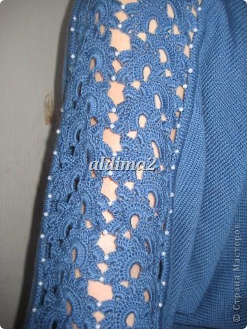 Платье связано на вязальной машине, отделка - крючок.  фото 2