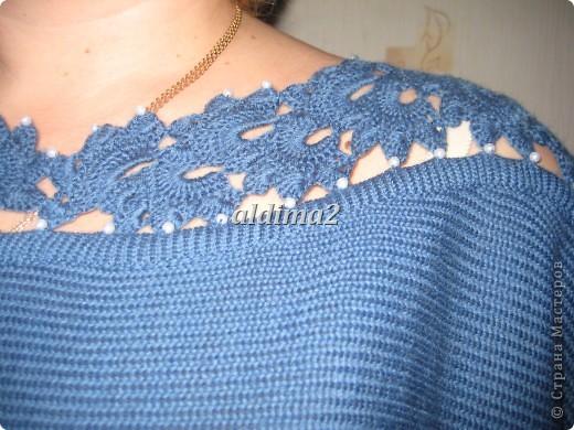 Платье связано на вязальной машине, отделка - крючок.  фото 3