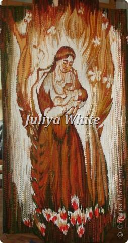Вид творчества: ткачество Материалы: деревянная рама, шерстяные нити, шпагат, вилка(для прибивки нити утка))  фото 1