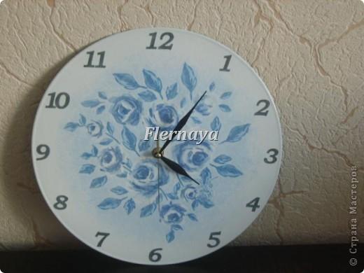 Часы. Основа-виниловая пластинка. Декупаж с фото. фото 2