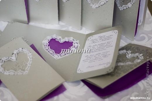 Приглашения на свадьбу.  бумага, кружево, горячий эмбоссинг, роспись фото 2