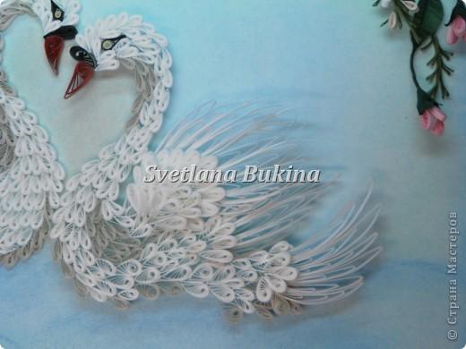 Всем доброго дня и солнечного настроения! Представляю вам свою новую работу Белых лебедей. Рамка для них сделана с подсветкой  (белые и немного голубых светодиодов снизу), а фотографировали ночью, в темноте.  фото 3