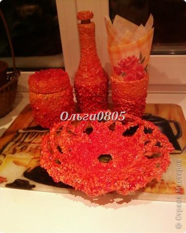 """Набор""""Оранжевое настроение"""",работа выполнена с применением крупы, клея ПВА, гуаши, лака. фото 2"""