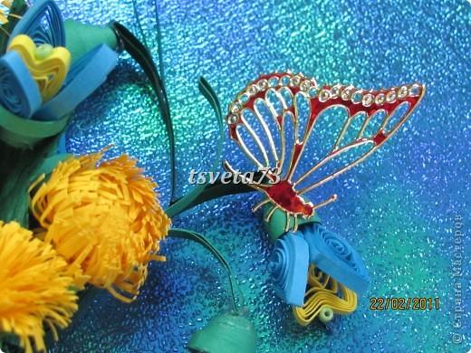 Всем (можно сказать) ВЕСЕННИЙ ПРИВЕТ!!!! В предвестие весны решила сделать весеннюю картинку в голубо-сине-желтых тонах, почему то я вижу в этих цветах весну.... и вот представляю такую композицию.... фото 9