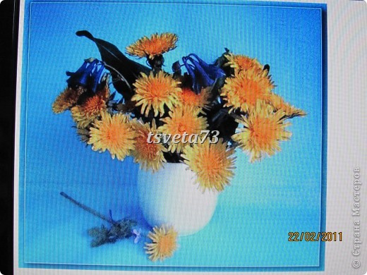 Всем (можно сказать) ВЕСЕННИЙ ПРИВЕТ!!!! В предвестие весны решила сделать весеннюю картинку в голубо-сине-желтых тонах, почему то я вижу в этих цветах весну.... и вот представляю такую композицию.... фото 12