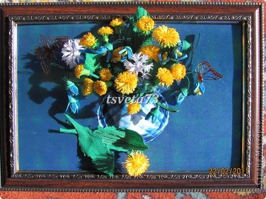Всем (можно сказать) ВЕСЕННИЙ ПРИВЕТ!!!! В предвестие весны решила сделать весеннюю картинку в голубо-сине-желтых тонах, почему то я вижу в этих цветах весну.... и вот представляю такую композицию.... фото 2