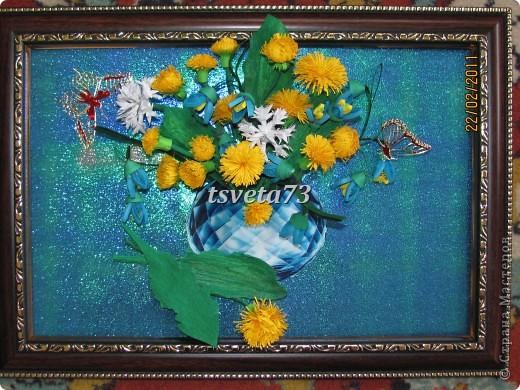 Всем (можно сказать) ВЕСЕННИЙ ПРИВЕТ!!!! В предвестие весны решила сделать весеннюю картинку в голубо-сине-желтых тонах, почему то я вижу в этих цветах весну.... и вот представляю такую композицию.... фото 1