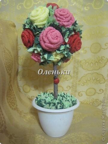 Наш сад растёт! После кофейного дерева http://stranamasterov.ru/node/154400 у нас родилось вот такое чудо - дерево из роз! Это так здорово, получаешь огромное удовольствие от проделанной работы. Хочется творить и творить! фото 1