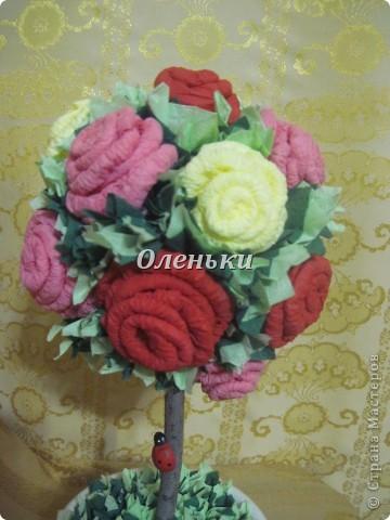 Наш сад растёт! После кофейного дерева http://stranamasterov.ru/node/154400 у нас родилось вот такое чудо - дерево из роз! Это так здорово, получаешь огромное удовольствие от проделанной работы. Хочется творить и творить! фото 2