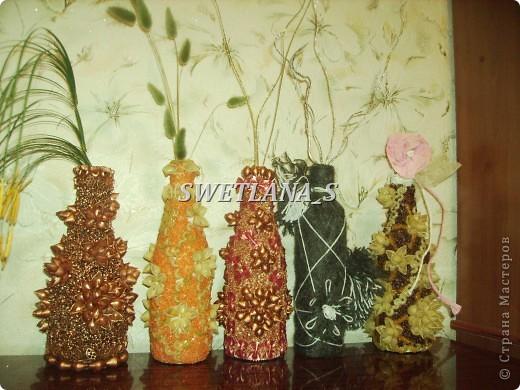Подарочные вазочки из бутылок и макарон!!! фото 1