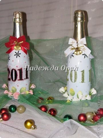 Мои новогодние бутылочки и букеты фото 1