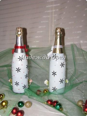 Мои новогодние бутылочки и букеты фото 2