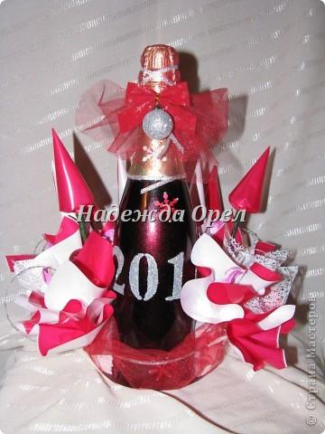 Мои новогодние бутылочки и букеты фото 3