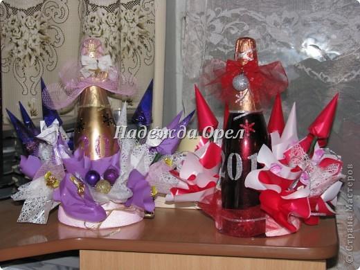 Мои новогодние бутылочки и букеты фото 5
