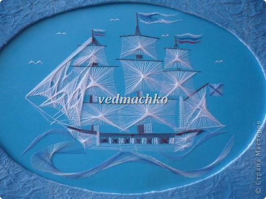 Изонить Корабль Нитки фото