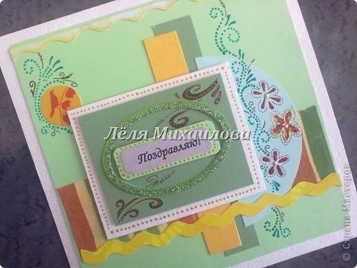 """Сегодня уже второй день весны и настроение такое зелененькое. Получилось три открытки: """"С Днем рождения"""", """"Пасха"""", """"Поздравляю"""".  фото 5"""