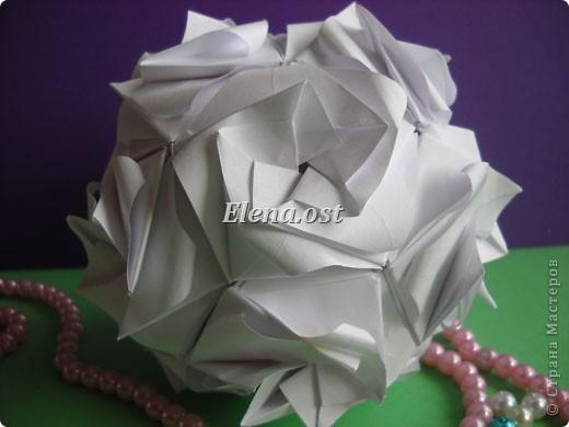 Кусудама Enrica. 60 модулей. Собираем 12 цветов-звездочек на клей по пять модулей. При квадрате 5Х5 см размер кусудамы 8 см, при 7Х7 см - 12 см. Бумагу лучше брать офисную для принтера или специальную для оригами. При копировании статьи, целиком или частично, пожалуйста, указывайте активную ссылку на источник! http://stranamasterov.ru/node/157778 http://stranamasterov.ru/user/9321  фото 52