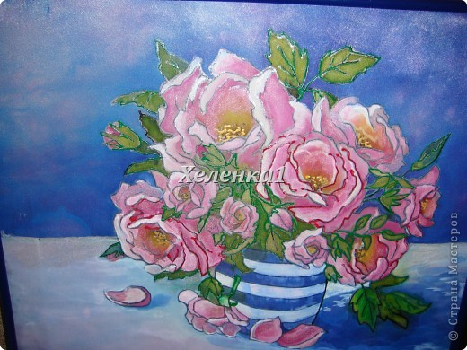 Моя работа в смешанной технике - батик + роспись по ткани акриловыми красками фото 11