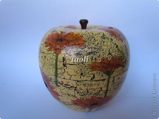 Вот такую новую одежку получила старенькая пластмассовая шкатулка в форме яблока. фото 1