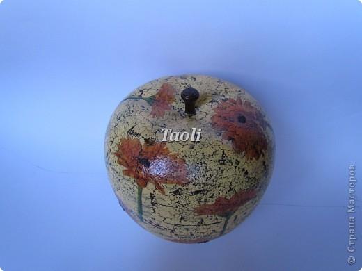 Вот такую новую одежку получила старенькая пластмассовая шкатулка в форме яблока. фото 2