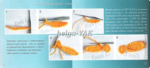 """Все детали связаны крючком из """"Ириса""""(кроме маленьких рыбок-они из мулине), приклеены к фону(ткань) клеем СУПЕР ПВА. фото 16"""