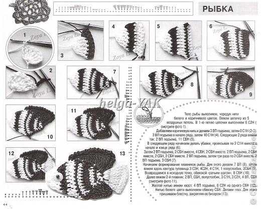 """Все детали связаны крючком из """"Ириса""""(кроме маленьких рыбок-они из мулине), приклеены к фону(ткань) клеем СУПЕР ПВА. фото 17"""